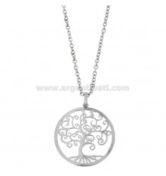 NECKLACE FOR CABLE WITH SHAFT OF LIFE 43 MM IN BRONZE RHODIUM AND STRASS CM 80