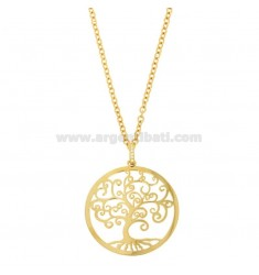 NECKLACE FOR CABLE WITH SHAFT OF LIFE 43 MM IN GOLDEN BRONZE AND RHINESTY CM 80