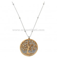 NECKLACE CABLE WITH ALTERNATE SPHERES AND TREE OF LIFE PENDANT IN RHODIUM STEEL AND COPPER CM 90
