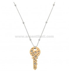 NECKLACE CABLE WITH ALTERNATE BALLS AND KEY PENDANT IN BRONZE RHODIUM AND COPPER CM 90