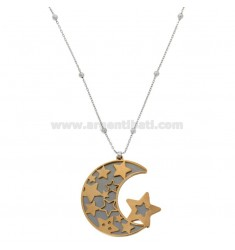 NECKLACE CABLE WITH ALTERNATE SPHERES AND MOON PENDANT IN BRONZE RHODIUM AND COPPER CM 90