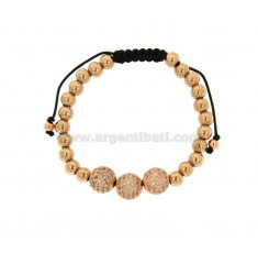 BRACELET IN BRONZE RAMATO WITH 3 CENTRAL BALLS WITH STRASS AND CORD