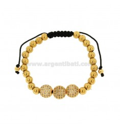 BRACELET IN GOLDEN BRONZE WITH 3 CENTRAL BALLS WITH STRASS AND CORD