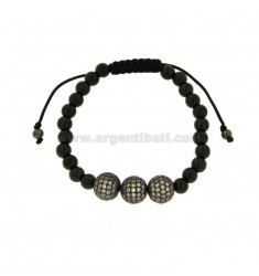 BRONZE BRACELET PLATED RUTENIO WITH 3 CENTRAL BALLS WITH RHINESTONES AND CORD