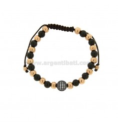 BRONZE BRACELET ROSED AND RUTHENIO WITH BALLS AND CENTRAL SPHERE WITH RHINESTONES AND CORD