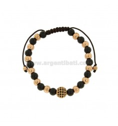 BRONZE BRACELET ROSED AND RUTHENIO WITH BALLS AND CENTRAL SPHERE WITH BLACK STRASSES AND CORD