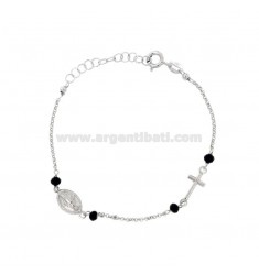 ROSARY BRACELET WITH ROLO 'AND STONES IN SILVER RHODIUM TIT 925 CM 16-19