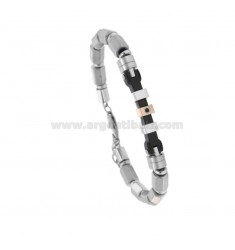 BRACELET WITH CYLINDRETTI WITH CENTRAL PLATE AND ZIRCONE IN STEEL WITH PARTICULARS PLATED RUTENIO AND COPPER CM 21