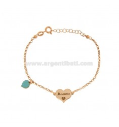 ROLO BRACELET WITH MOM HEART AND ENAMELED HEART PENDANT IN COPPER SILVER TIT 925 ‰ CM 17-20