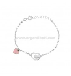 ROLO BRACELET WITH MOM HEART AND HEART GLAZED PENDANT IN SILVER RHODIUM TIT 925 ‰ CM 17-20