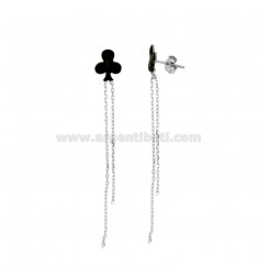 EARRINGS PENDANT FLOWERS IN SILVER RHODIUM AND GLAZED TIT 925
