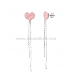 EARRINGS HEART WITH PENDANTS IN SILVER RHODIUM AND ENAMEL TIT 925