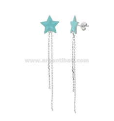EARRINGS STAR WITH PENDANTS IN SILVER RHODIUM AND ENAMEL TIT 925