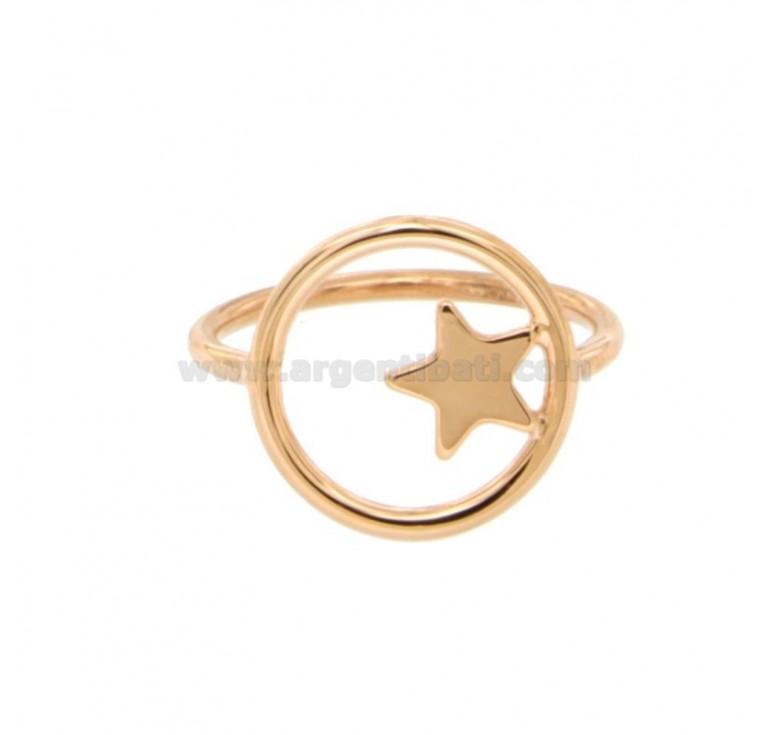 Drahtring mit Stern im Kreis in Silber Kupfer TIT 925 Größe 14