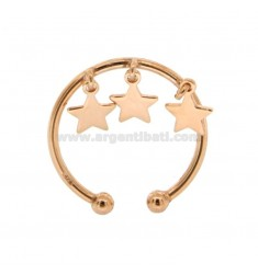 WIRE RING WITH STARS PENDANTS IN COPPER SILVER TIT 925 SIZE ADJUSTABLE