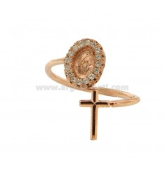 RING CONTRARY MIRACULOUS MADONNA AND CROSS WITH ZIRCONIA SILVER COPPER TIT 925 SIZE ADJUSTABLE