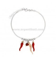 RIGID WIRE BRACELET WITH HORNS AND QUADRIFOGLIO PENDANT IN SILVER RHODIUM AND ROSE TIT 925 ‰ AND ENAMEL