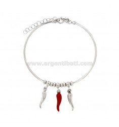 RIGID WOOL BRACELET WITH HORNS PENDANTS IN SILVER RHODIUM AND ROSE TIT 925 ‰ AND SMALTO