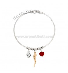 RIGID WIRE BRACELET WITH HORN HEART AND QUADRIFOGLIO PENDANT IN SILVER RHODIUM AND ROSE TIT 925 ‰ AND ENAMEL