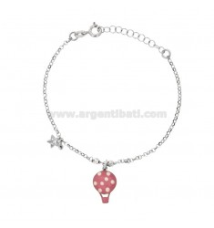 ROLO 'BRACELET WITH ENAMELED GLOSSY AND STAR WITH ZIRCONIA PENDANT IN SILVER RHODIUM TIT 925 ‰ CM 17-20