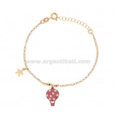 ROLO 'BRACELET WITH ENAMELED GLOVE AND STAR WITH PENDANT IN COPPER SILVER TIT 925 ‰ CM 17-20