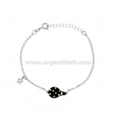 ROLO BRACELET 'WITH CENTRAL GLOVE MONGOLFIERA AND STAR WITH ZIRCONIA IN SILVER RHODIUM TIT 925 ‰ CM 17-20