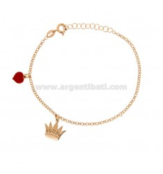 ROLO BRACELET 'WITH CROWN AND HEART GLAZED PENDANT SILVER COPPER TIT 925 ‰ CM 17-20
