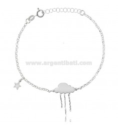 ROLO BRACELET 'CLOUD ENAMELED WITH CHAINS AND STELLINA PENDANT WITH ZIRCONIA IN SILVER RHODIUM TIT 925 ‰ CM 17-20