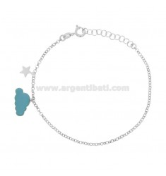 ROLO BRACELET 'WITH CLOUD GLAZED AND STELLINA PENDANT WITH ZIRCONIA IN SILVER RHODIUM TIT 925 ‰ CM 17-20