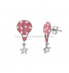EARRINGS WITH ENGRAVED GLOVE AND STAR WITH ZIRCONIA IN SILVER RHODIUM TIT 925 ‰