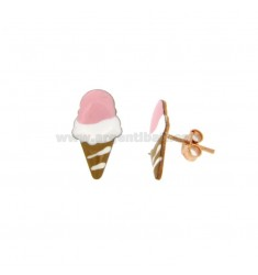 OHRRINGE LOBO CONE EISCREME EMAILED IN Kupfer Silber TIT 925 ‰