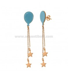 EARRINGS BALLOON WITH CHAINS AND STARS WITH PENDANTS IN COPPER SILVER TIT 925 ‰