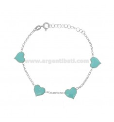 ROLO BRACELET WITH HEARTS ENAMELLED IN SILVER RHODIUM TIT 925 ‰ CM 17-20