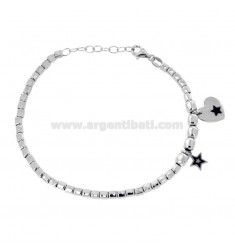 BRACELET WITH PEPITE STAR AND HEART PENDANTS IN SILVER RHODIUM TIT 925 ‰ AND SMALTO CM 17-20