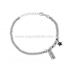 Armband mit Unterlegscheiben und Pfeffer und STAR STAR Anhänger in Silber RHODIUM TIT 925 ‰ und SMALTO CM 17-20