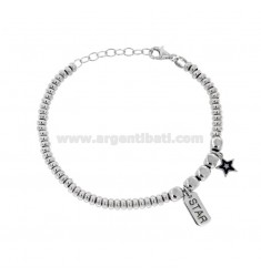 BRACELET WITH WASHERS AND PEPPER AND STAR STAR PENDANT IN SILVER RHODIUM TIT 925 ‰ AND SMALTO CM 17-20