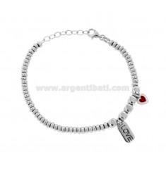 Armband mit Unterlegscheiben und PEPITE und Herz LIEBE Anhänger aus Silber Rhodium TIT 925 ‰ und SMALTO CM 17-20
