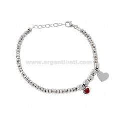 BRACELET WITH WASHERS AND PEPPERS AND HEARTS PENDANTS IN SILVER RHODIUM TIT 925 ‰ AND SMALTO CM 17-20
