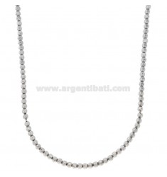 COLLANA CON SFERE MM 3 DIAMANTATE TRASVERSALMENTE IN ARGENTO RODIATO TIT 925‰ CM 50