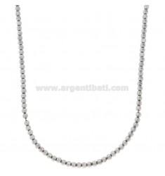 Halskette mit Kugeln MM 3 Diamanten TRANSVERSELL in Silber RHODIUM TIT 925 ‰ CM 50