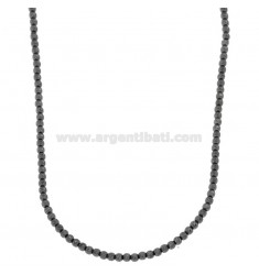 NECKLACE WITH BALLS 3 MM DIAMONDS TRANSVERSALLY IN SILVER PLATED RUTENIO TIT 925 ‰ CM 50