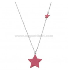 NECKLACE WITH STARS ENAMELLED IN SILVER RHODIUM TIT 925 ‰ CM 40-45