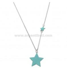 Halskette mit Sternen in Silber rhodiniert TIT 925 ‰ CM 40-45