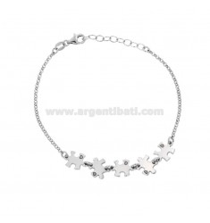 ROLO BRACELET WITH PUZZLE ENAMELLED IN SILVER RHODIUM 17-20 CM