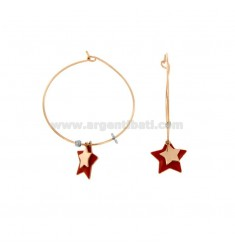 EARRINGS A CIRCLE MM 32 WITH STAR ENAMELED PENDANT COPPER SILVER TIT 925