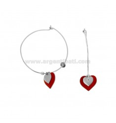 EARRINGS A CIRCLE MM 32 WITH HEART GLAZED PENDANT SILVER RHODIUM TIT 925