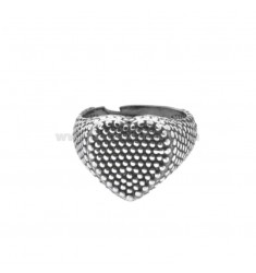 RING FROM MIGNOLO HEART WITH MICROSPHERES IN SILVER BRUNITO 925 ‰ ADJUSTABLE SIZE FROM 6