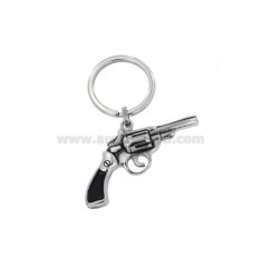 KEYHOLDER ETHNIC LINE GUN IN STEEL AND ENAMEL
