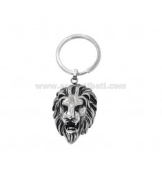KEYCHAIN ??LION HEAD ETHNIC LINE IN BRUNITO STEEL