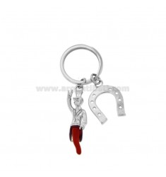 KEY RING WITH HORN GOBBO AND HORSESHOE IN STEEL AND ENAMEL